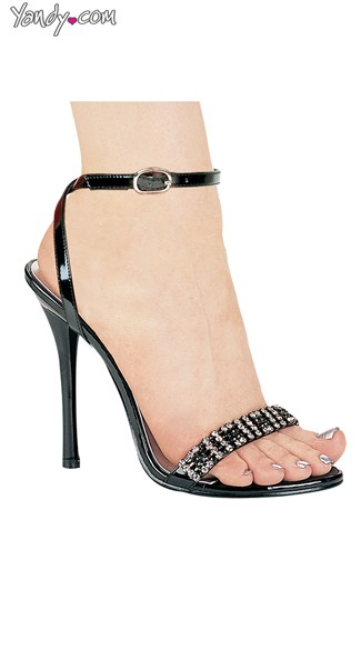 Single Strap Rhinestone Studded Evening Stiletto, Womens Evening Dress Shoes, Open Toe Heels