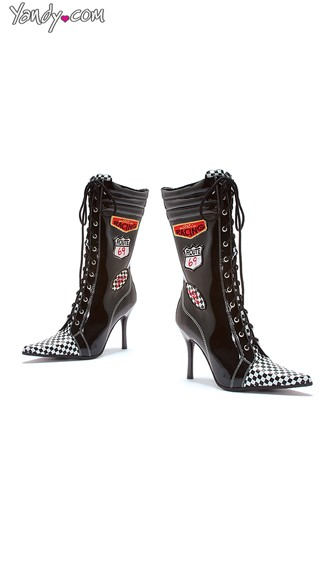 Racer Babe Stiletto Bootie, Costume Boots, Lace Up Heels for Women