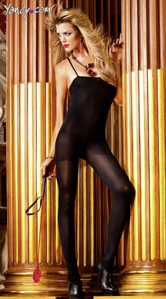 Black Opaque Bodystocking