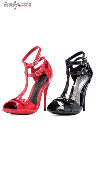 Glossy T-Strap Stiletto with Double Ankle Cuffs, Womens High Heels, Ankle Strap Sandals