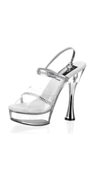 Sweet-439, 5 1/2 Inch Silver Cone Heel with Rhinestones, Sexy Rhinestone Cone Heel, SW439/C/RS