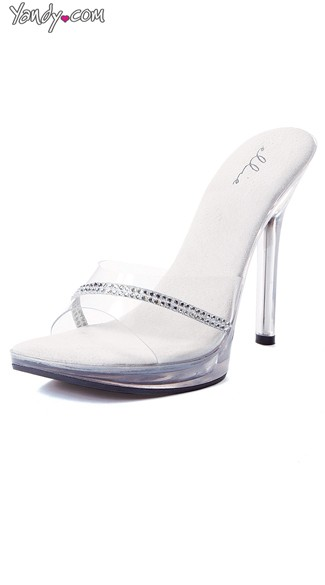 Clear Stiletto Slide with Rhinestone Band, Clear Heel Shoes, Rhinestone Shoes for Women