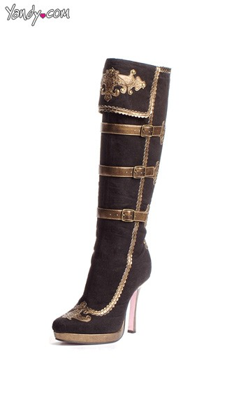 Black and Gold Pirate Boots, Gold Trim Boots, Anna Boots