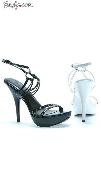 Evening Sandal with Strappy Ring and Stud Detail, Strappy Sandals, 5 Inch Heels