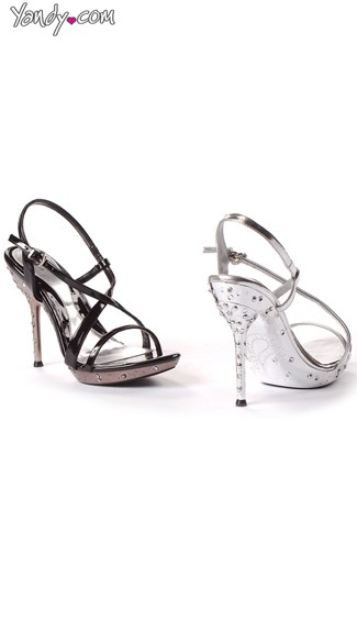 Midnight Vixen Rhinestone Studded Sandals, Strappy Heels for Women, 5 Inch Heels