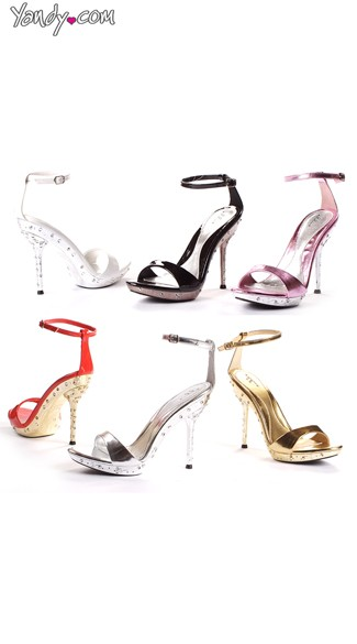Rhinestone Studded Glossy Sandal, 5 Inch Heels, Cheap Shoes for Women