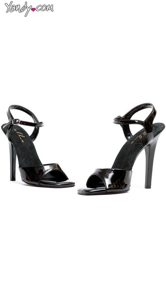 Glossy Evening Stiletto Sandal, Black High Heels, Ladies Shoes
