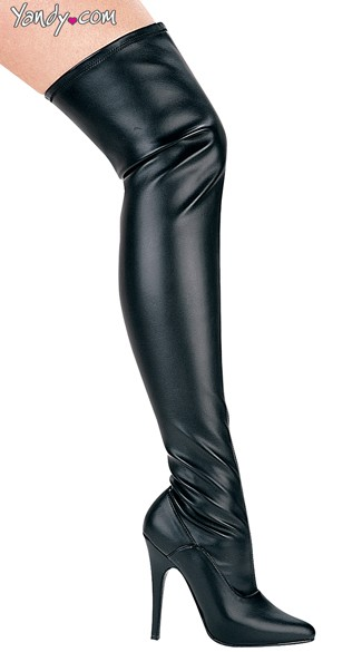 Killer Instinct Wet Look Stretch Boot, Thigh High Boots Cheap, Black Leather Thigh High Boots