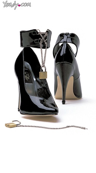 Lock and Key Glossy Stiletto Pump