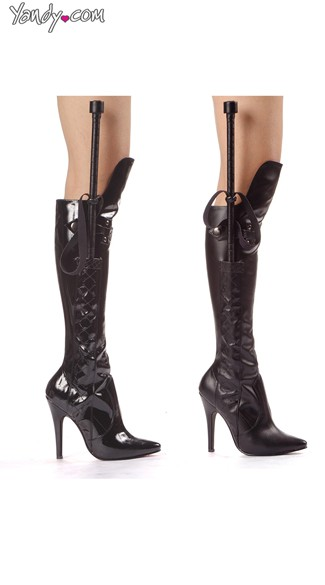 Whip Him Good Knee High Boot with Whip, Costume Boots for Women, Black Leather Boots