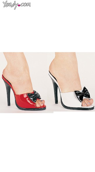 Pretty Please Glossy Peep Toe Slide with Bow, 5 Inch Heel, Cheap Shoes Online
