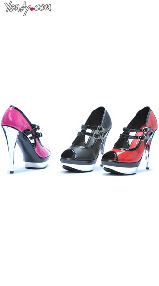 Mary Jane Pump with Chrome Heel