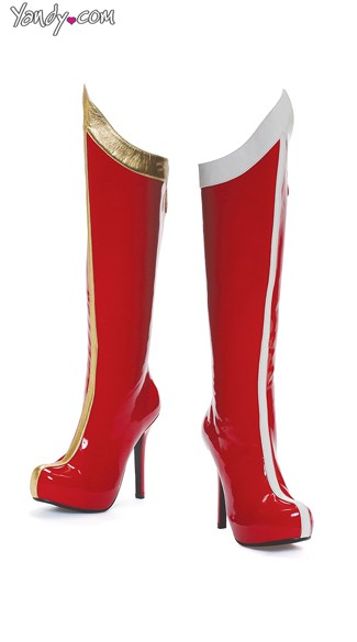 Single Stripe Knee High Boot, Costume Boots for Women, Cheap Red Boots
