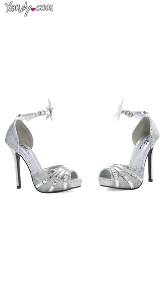 Shine On Open Toe Sandal With Star Accents, Silver Shoes for Women, Silver Strappy Sandals