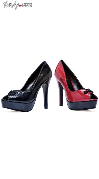 Faux Leather Platform Pump with Open Toe, Platform Pump Heels, Womens High Heels