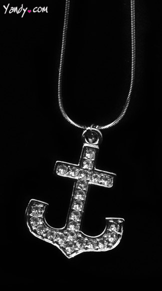 Rhinestone Anchor Necklace, Sailor Costume Necklace