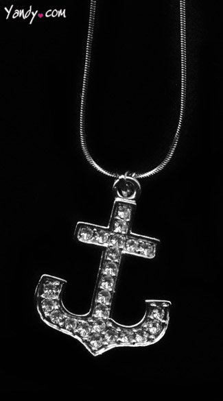 Rhinestone Anchor Necklace