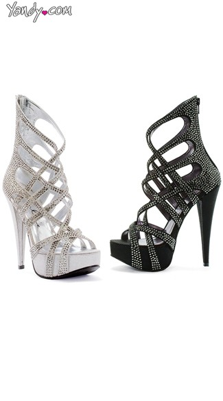 Criss Cross Metallic Rhinestone Sandal, Rhinestone High Heels, Platform Sandals