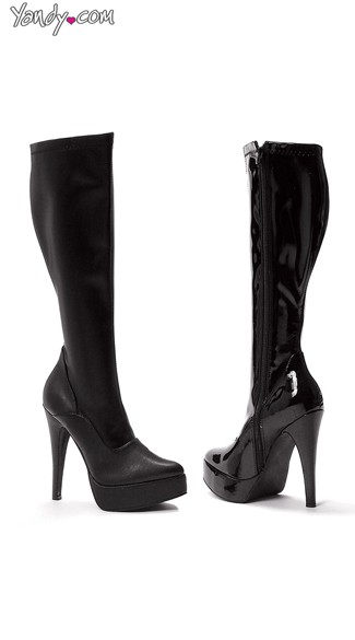 Knee High Platform Boot with Pointy Toe and Zipper, Cheap Sexy Boots, Platform Boots