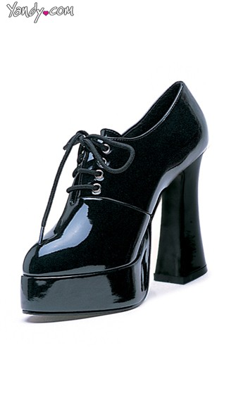 Glossy Oxford Platform with Chunky Heel, Oxford Heels for Women, Black Pumps