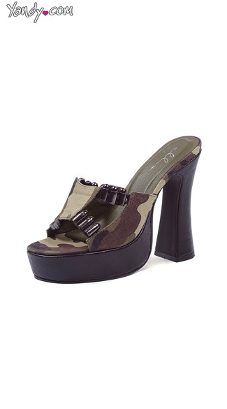 Sassy General Camo Slide with Faux Bullets, 5 Inch Heels, Costume Shoes fTor Women