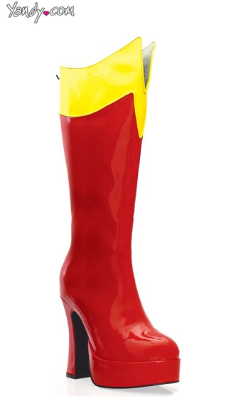 Mid-Calf Super Boot with Cut Flap, Cheap Shoes, Red Superhero Boots