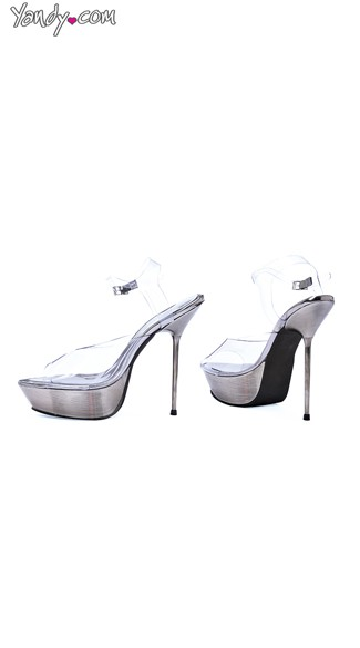 Crystal Clear Chrome Stiletto Sandal, Clear Dress Shoes, Womens Dance Shoes