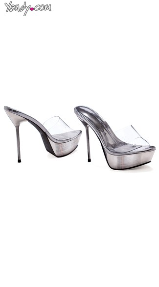 Metallic Hottie Stiletto Slide, Clear Slides,  Platform Stiletto Heels