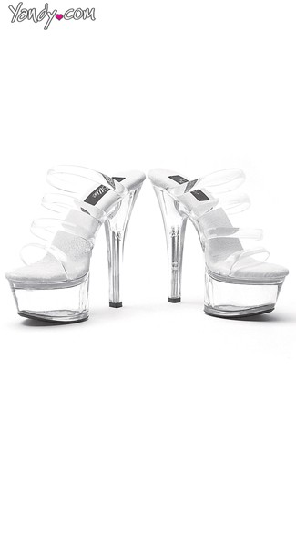Multi-Strap Clear Platform Slide, Clear High Heel Shoes, Platform Heels