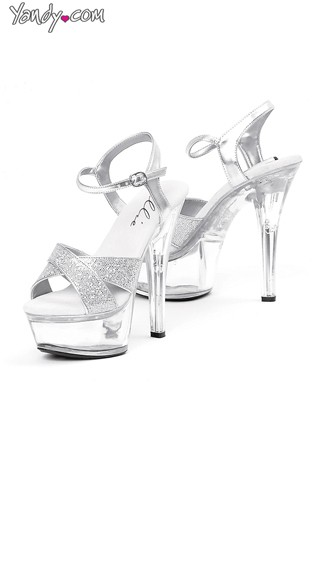 Glitter Me Up Clear Platform Heel, High Heeled Shoes, Glitter Heels for Women