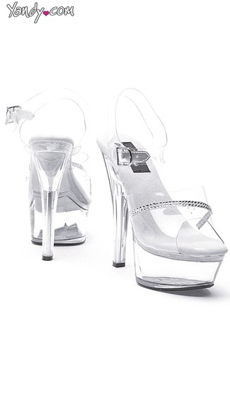 Crystal Clear Platform Sandal with Rhinestones, Platform Sandals for Women, Platform Heels