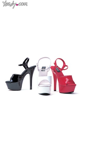 Without Boundaries Glossy Platform Sandal, High Heels for Women, Ankle Strap High Heel Sandals