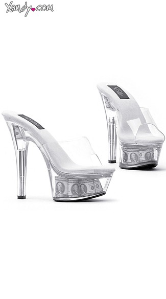 Show Me The Money Clear Stiletto Slide, Shop Shoes Online, Clear Platform Sandals