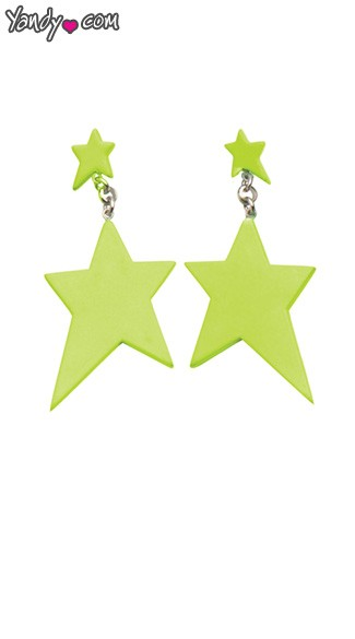 Green Star Earrings, Green Earrings, Star Shaped Ear Rings