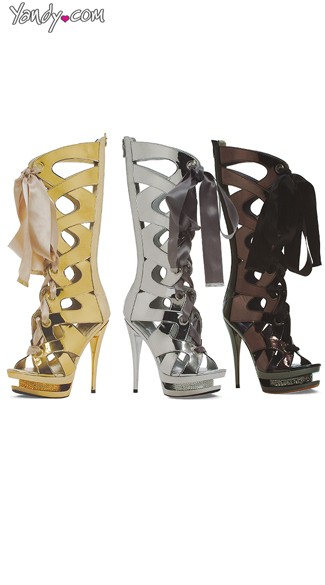 When In Rome Metallic Gladiator Bootie, Gladiator Boots, High Lace Up Stilettos