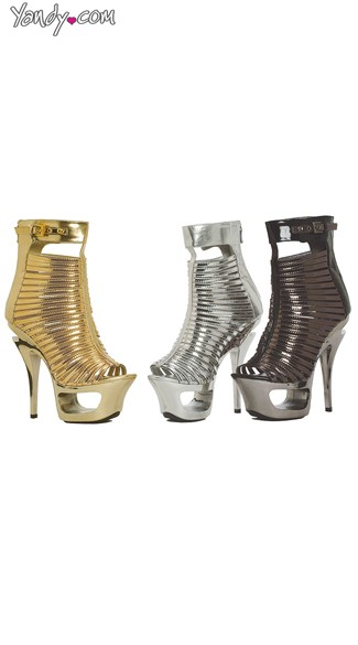 Metallic Cut Out Peep Toe Bootie, 6 Inch Heel, Womens High Heels