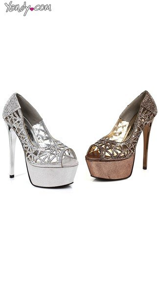 Lattice Platform Pump with Rhinestone Studs, Stiletto Pumps, Rhinestone High Heels