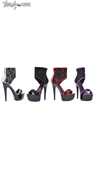Lacy Floral Stiletto Sandal with High Rise Cuff, Platform Stilettos, High Heel Shoes