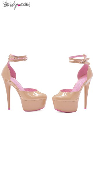 Nude Platform Sandals with Pink Lining, Breast Cancer Awareness Shoe