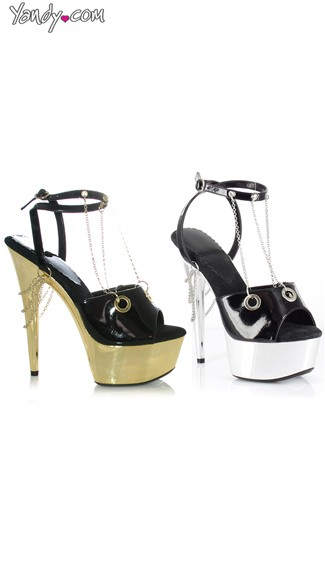 Metallic Platform Sandals with Chain Details, Ankle Strap Sandals