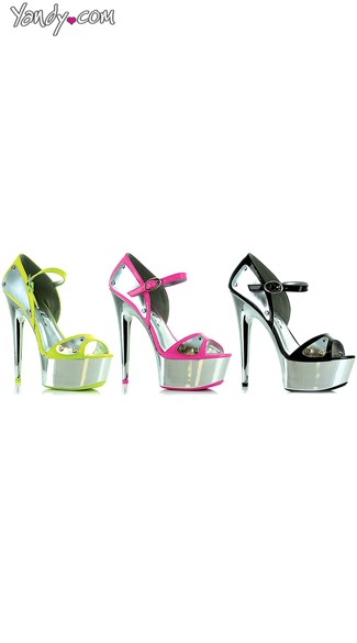 Metallic Platform Sandals with Contrast Trim, Metal Plate Sandals
