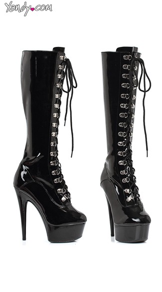 Lace Up Knee High Platform Boots