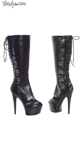 Black Lace Up Boots with Lace Detail