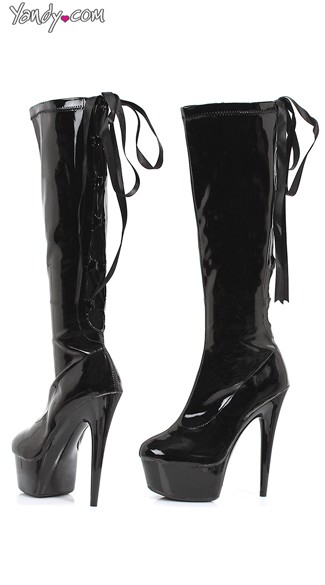 Lace Up Back Platform Boots, Stretch Knee High Boots