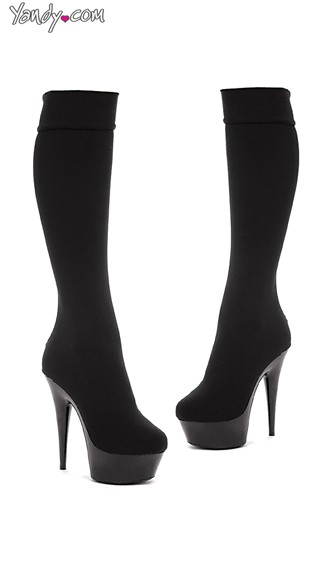 Lycra Knee High Boots, Stiletto Boots, Black Stretch Boots