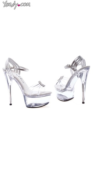 Clear Platform Sandals with Rhinestone Details, Clear Sandals