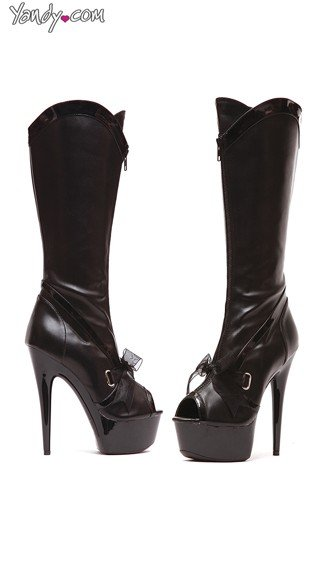 Peep Toe Knee High Boots with Bow, Black Knee High Boots