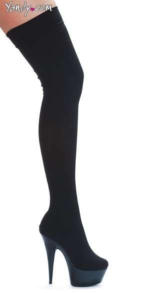 Thigh High Lycra Boots, Boots with a 6 Inch Heel
