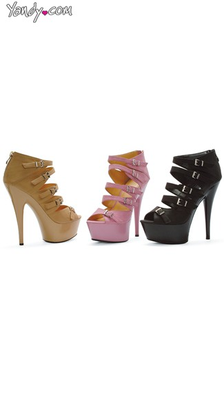 Strappy Stiletto Booties, Platform Multi Strap Booties
