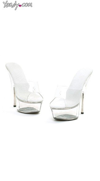 Clear Slide On Mules with Peep Toe, Clear Strap Mules